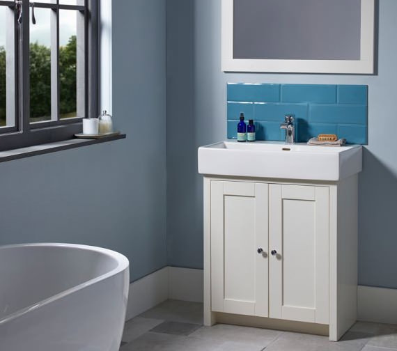 Additional image of Tavistock Lansdown 600mm Semi-Countertop Vanity Unit - Linen White