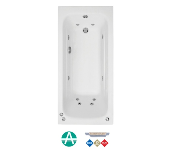 Phoenix Crystal Amanzonite Single Ended Whirlpool Bath Length 1600mm - 1700 And 1800mm Also Available