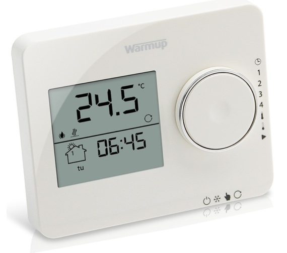 Warmup Tempo Programmable Porcelain White Finish Thermostat