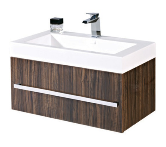 Phoenix Vue 800mm Ebony Wall Mounted Vanity Unit With Basin