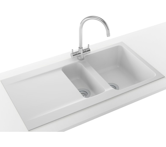 Franke Orion Propack OID 651 Tectonite Polar White Kitchen Sink And Tap