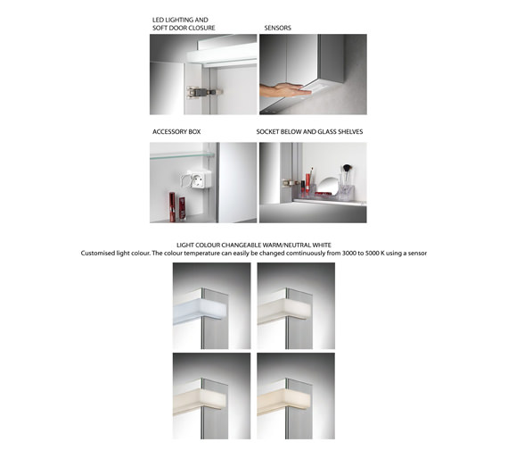 Additional image of Schneider Taikaline 2 Door 1000mm Mirror Cabinet