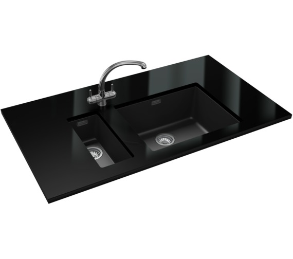 Franke Sirius PP SID 110 16 + SID 110 50 Tectonite Carbon Black Sink And Tap
