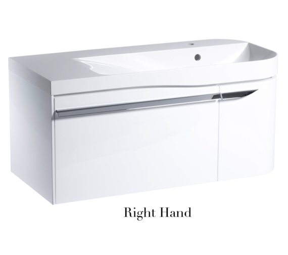 Alternate image of Roper Rhodes Cirrus 900mm Gloss White Unit With Basin Left Hand