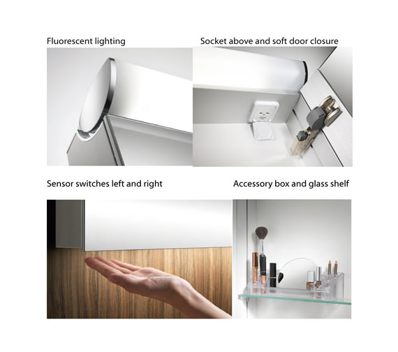 Additional image of Schneider FaceLine 2 Door Illuminated Mirror Cabinet 600mm