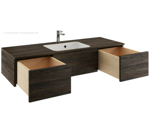 Alternate image of Bauhaus Pier 1200mm Ebony Double Drawer Console Unit And Basin