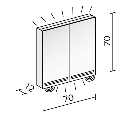 Technical drawing QS-V16604 / GRL 70/2/FL/LED