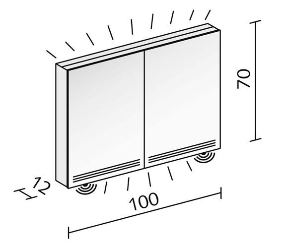 Technical drawing QS-V16605 / GRL 100/2/FL/LED
