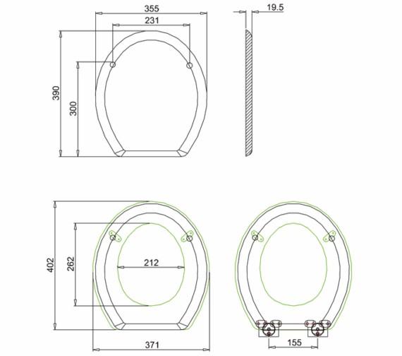 Technical drawing QS-V55952 / S16