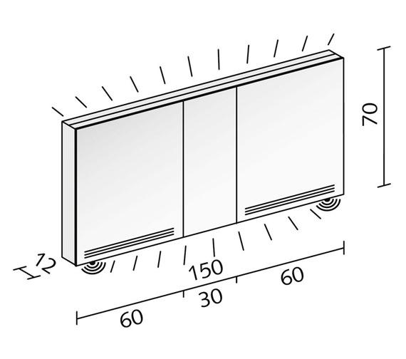 Additional image of Schneider Graceline 3 Door Mirror Cabinet With LED Light