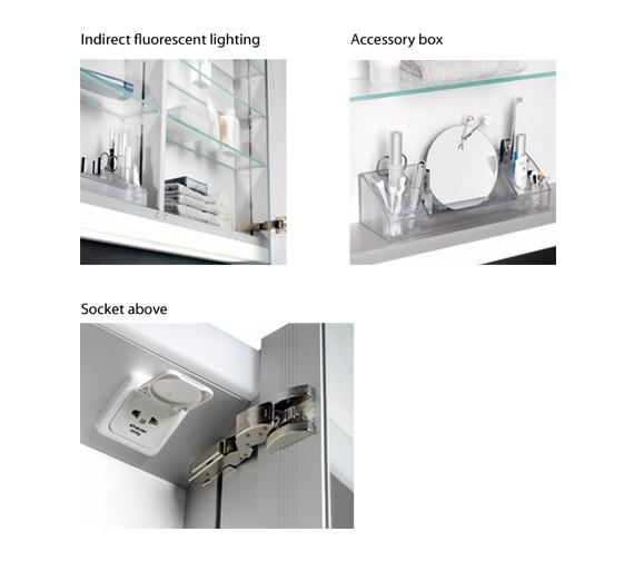 Additional image of Schneider Graceline 3 Door 1500mm Mirror Cabinet With LED Light