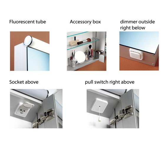 Additional image of Schneider Prideline 2 Door 900mm Mirror Cabinet With Flourescent Lighting