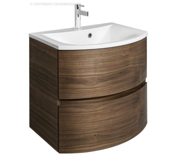 Bauhaus Svelte 600mm American Walnut Wall Hung Vanity Unit And Basin