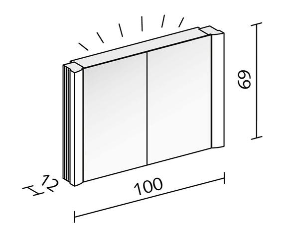 Additional image of Schneider Splashline 2 Door Mirror Cabinet - More Sizes Available