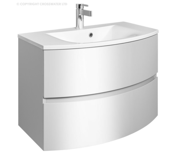 Bauhaus Svelte 800mm Wall Hung Vanity Unit White Gloss And Basin