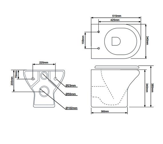 Tavistock Micra Wall Hung WC Pan And Soft Close Seat 515mm - WH100S