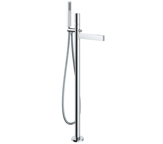 Abode Cyclo Floor Standing Chrome Bath Filler Tap With Shower Handset