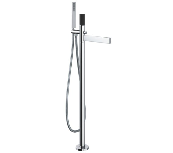 Abode Cyclo Black And Chrome Bath Filler Tap With Shower Handset