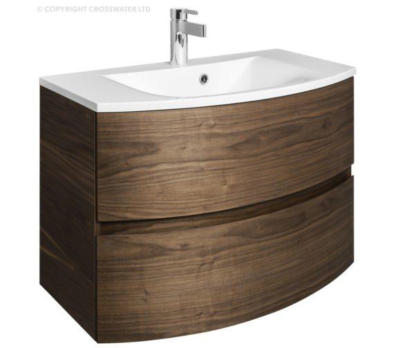 Bauhaus Svelte 800mm American Walnut Wall Hung Vanity Unit And Basin