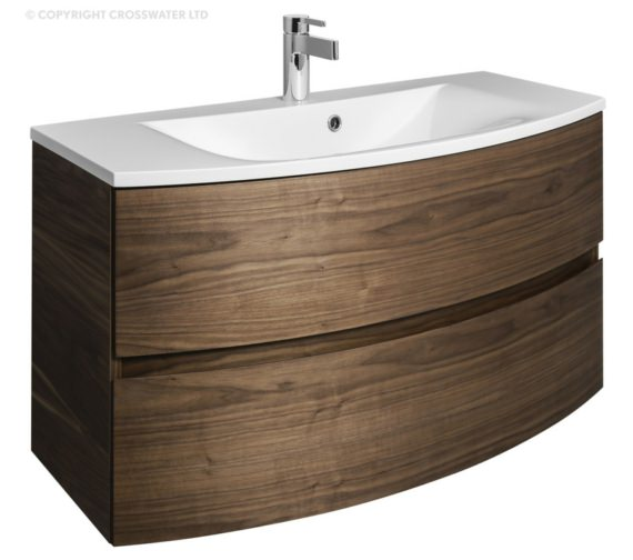 Bauhaus Svelte 1000mm American Walnut Wall Hung Vanity Unit And Basin