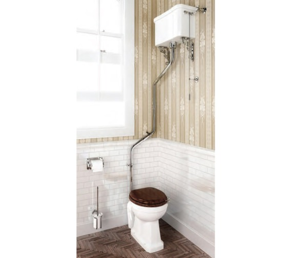 Burlington High-Level WC Pan With Cistern And Angled Flush Pipe Kit