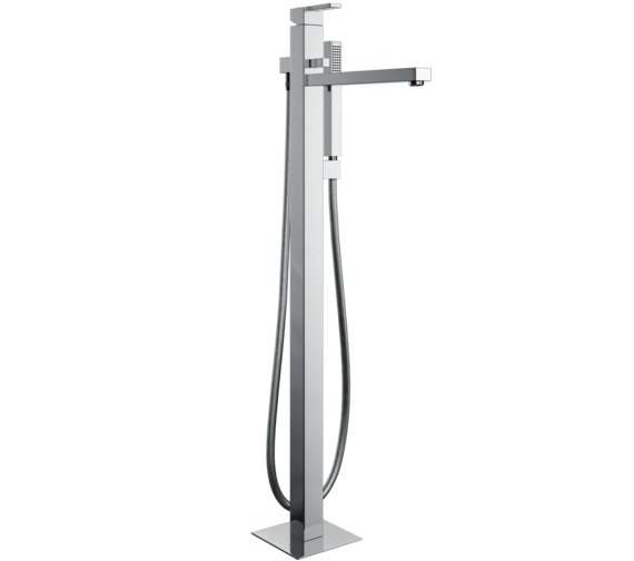 Abode Iso Floor Standing Bath Filler Tap With Shower Handset