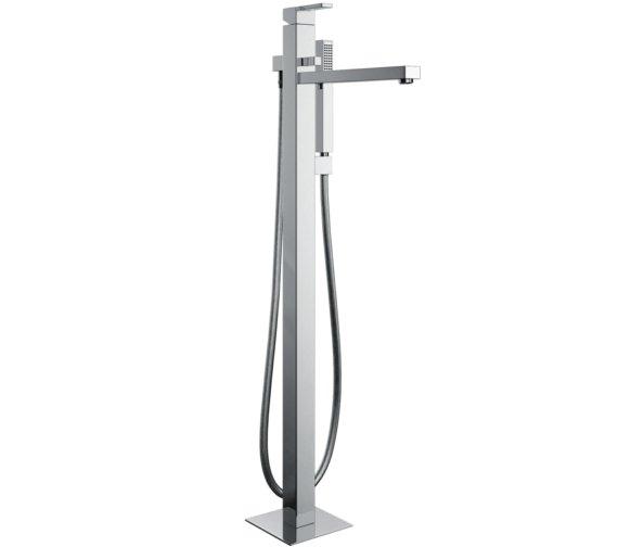 Abode Iso Floor Standing Bath Filler Tap With Shower Handset