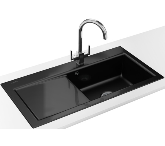Franke Black Kitchen Sink: Franke Mythos Designer Pack MTK 611 Ceramic Black Sink And