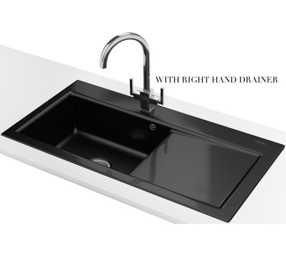 Franke Black Kitchen Sink: Franke Mythos MTK 611 Ceramic Black 1.0 Bowl Inset Sink