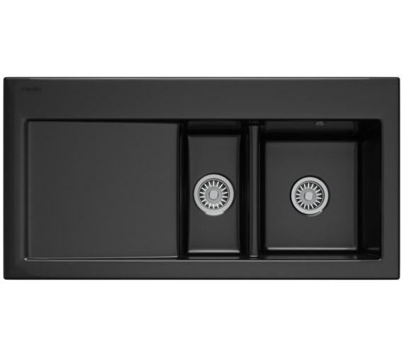 Franke Black Sink : Franke Mythos MTK 651 Ceramic Black 1.5 Bowl Inset Sink 124.0050.123