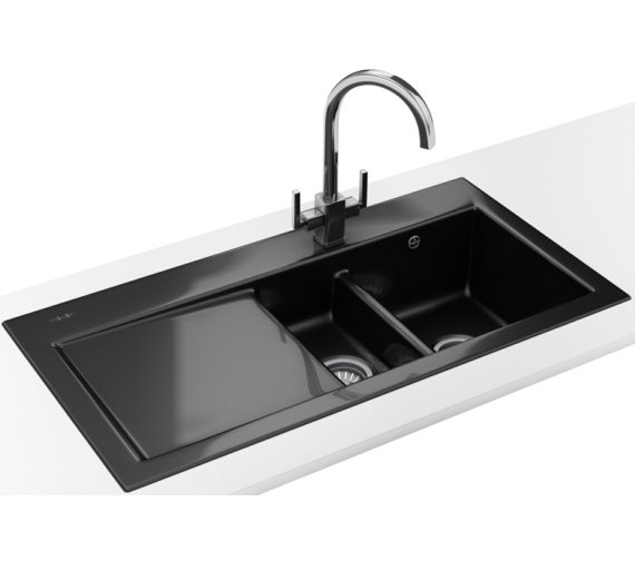 Franke Black Kitchen Sink: Franke Mythos Designer Pack MTK 651 Ceramic Black Sink And