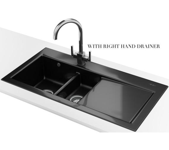 Franke Mythos MTK 651 Ceramic Black 1.5 Bowl Inset Sink 124.0050.123