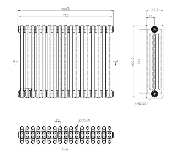 Technical drawing QS-V6650 / RA414