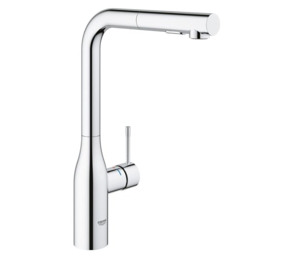 Grohe Essence L-Spout Kitchen Sink Mixer Tap With Pull Out Spray Chrome