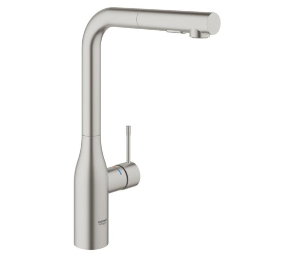 Grohe Essence L-Spout Kitchen Sink Mixer Tap With Pull Out Spray Supersteel