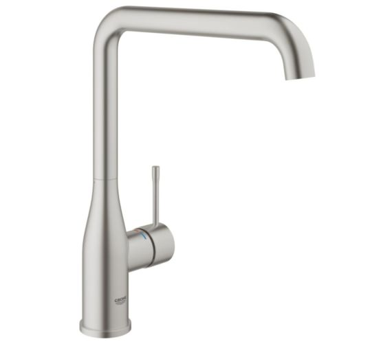 Grohe Essence Plus Single Lever L-Spout Kitchen Sink Mixer Tap Supersteel
