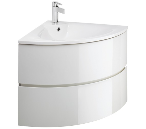 Bauhaus Svelte White Gloss Corner Vanity Unit And Basin