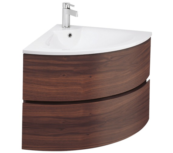Bauhaus Svelte American Walnut Corner Vanity Unit And Basin