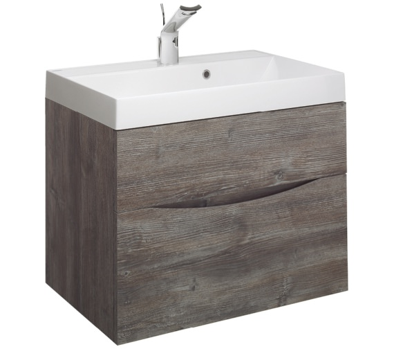 Bauhaus Glide II 700mm Double Drawer Vanity Unit Driftwood
