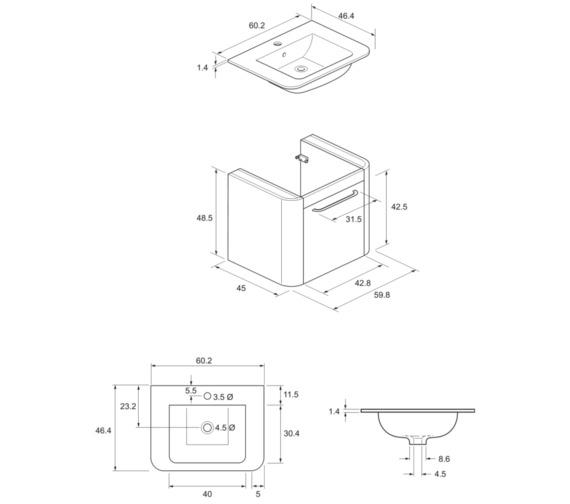 Technical drawing QS-V8837 / CL6000DPL+