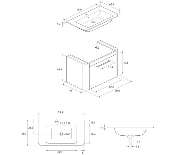 Technical drawing QS-V8838 / CL8000DPL+