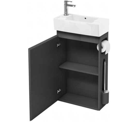 Additional image of Britton All-in-One Floor Standing White Unit With Left Hand Basin