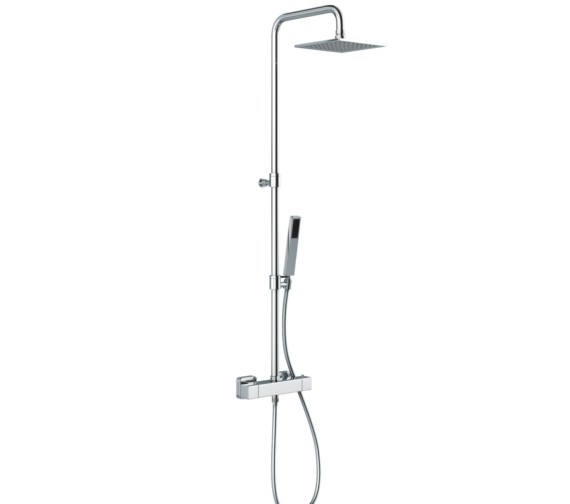 Abode Euphoria Square Thermostatic Valve With Rigid Riser Shower Kit