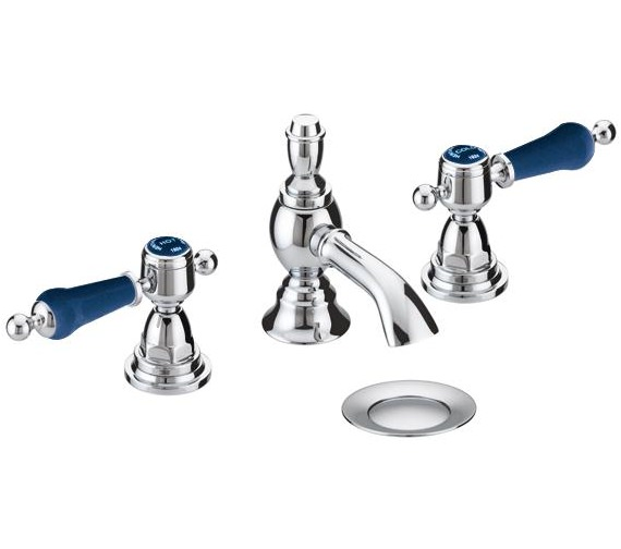 Heritage Glastonbury Chrome 3TH Basin Mixer Tap With Midnight Blue Levers
