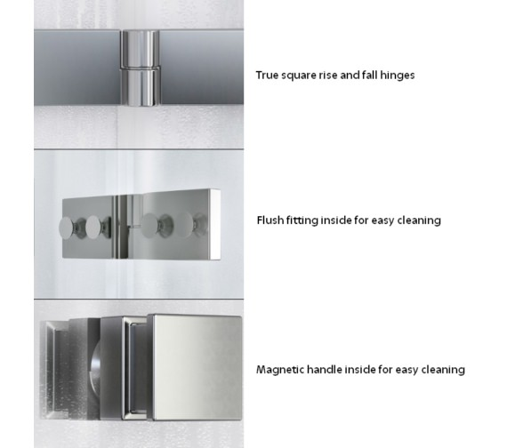 Alternate image of Aqualux ID Match Square 1000mm Recess Hinge Door With Fixed Panel