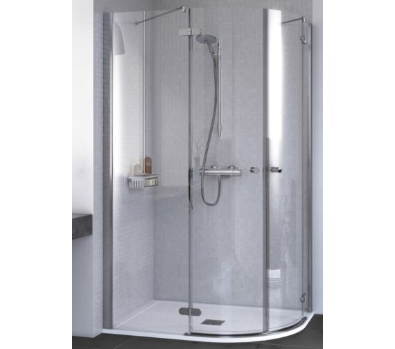 Aqualux ID Match Round 1200 x 800mm Offset Quadrant Shower Enclosure
