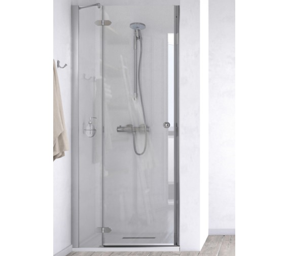 Aqualux ID Match Time 800mm Recess Hinged Door With Fixed Panel