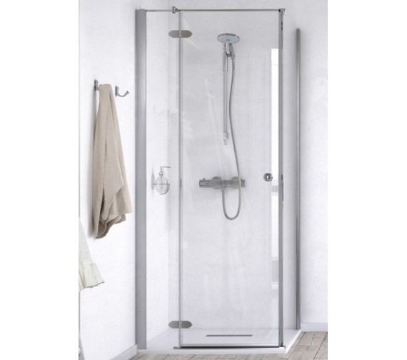 Aqualux ID Match Time 800 x 800mm Hinged Shower Door With Side Panel