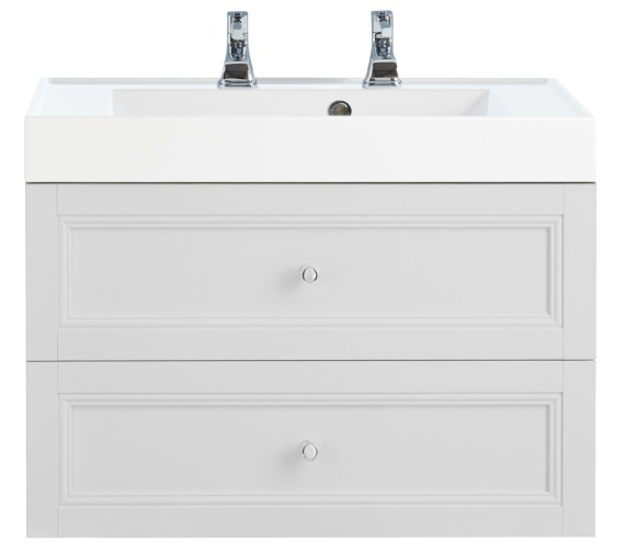 Heritage Caversham Dove Grey 700mm 2 Drawer Wall Hung Furniture Vanity Unit
