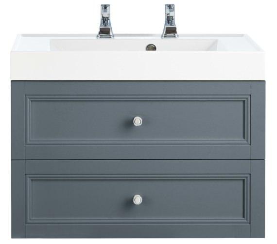Heritage Caversham Graphite 700mm 2 Drawer Wall Hung Furniture Vanity Unit